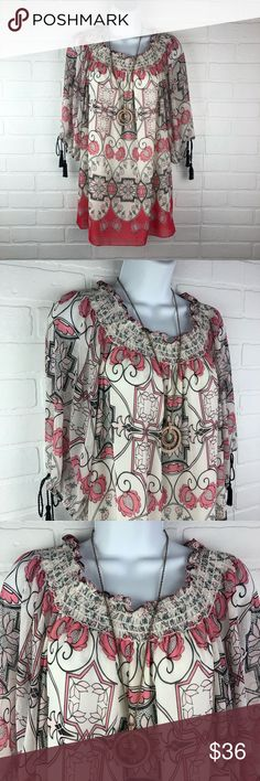 Max Edition Large Boho Print Blouse New Max Edition Large Boho Print Blouse polyester  made in China new with Tags  Tassel Ties on 3/4 sleeves armpit to armpit:  21.5 inches length: 25.5 inches (back center of blouse to bottom hem)  I ship daily Bundle and save 15%  Thank you for shopping my closet Max Studio Tops Blouses
