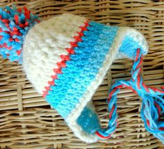 Crochet Baby Hats Striped Earflap Hat for Baby boys by mybabyhats