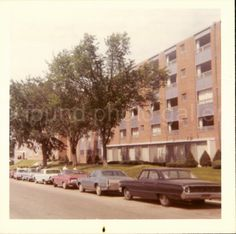 College Sorority Apartment Building Cars by foundphotogallery
