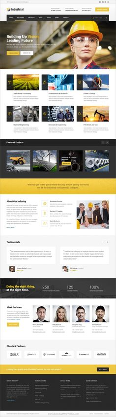 Buy Industrial - Factory / Industry / Engineering PSD Template by DesignFalls on ThemeForest. Industrial Psd template designed specifically for all types of industry, Factory, Industrial, Construction, Engineeri. Website Design Layout, Website Design Company, Wordpress Website Design, Web Layout, Layout Design, Engineering Websites, Construction Website, Amazing Website Designs, Niche Design