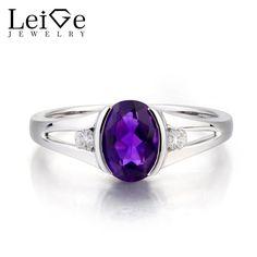 Leige Jewelry Natural Amethyst Ring Wedding Ring Oval Cut Gemstone February Birthstone 925 Sterling Silver Ring Bezel Setting