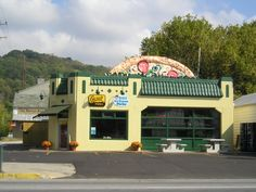 Former gas station, now a pizza shop. Madison Indiana. My grandpa used to work at the gas station.