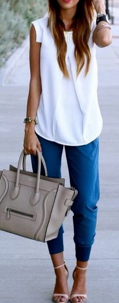 I love this shirt and pants!!!  Maybe in white (as long as it is not see through.  or a different color such as a coral pink or other bright color.