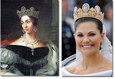 In 1823 the diadem became part Josephine's grandaughter, Josephine of Leuchtenberg's dowry upon her marriage to the future King of Sweden, Oscar I. Now part of Swedish Crown jewels, the tiara has been worn by many royal brides, including Crown Princess Victoria, who married the Duke of Västergötland in 2010.