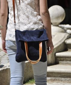 OFFER Leather bag blue leather shoulder bag by SANTIbagsandcases