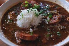 Chicken and Sausage Gumbo, from a true Louisiana chef (last name is Simoneaux, owner of the Boxing Room)