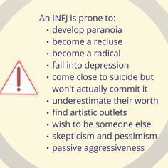 Hadn't considered one of those as an INFJ thing and felt awful for being that way so I suppose this does make me feel a bit better about it.