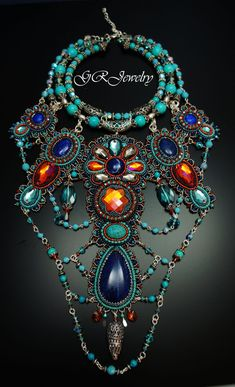 Absolutely stunning and unique piece made with a lot od Swarovski crystals, lapis lazuli stones, sterling silver seedbeads. Size of the necklace is