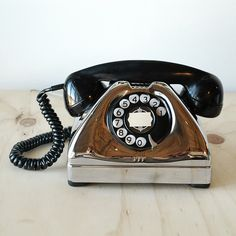 Antique Telephone Chrome Art Deco Vintage Telephone