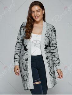 Plus Size Print Thick Sweater Cardigan