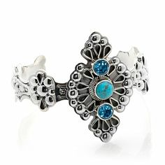 "Chaco Canyon Couture Ornate Sterling Silver Metalwork and Gemstone 7"" Cuff Brac at HSN.com"