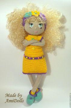 """Купить Вязаная Кукла """"Марта"""" - желтый, сиреневый, кукла ручной работы, интерьерная кукла, куклы ☆"""