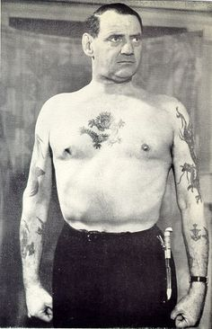 Danish King Frederik IXl had a dragon tattooed on his arm, a Jerusalem Cross on other arm, Family crest, T'ang dragon on chest, and many others.