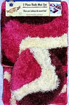 Large 3 Piece Soft Shag Bath Mat, Contour Rug, and Lid Cover Pink/Burgundy/Beige Set *** Click on the image for additional details. (This is an affiliate link) #AreaRugsRunnersandPads
