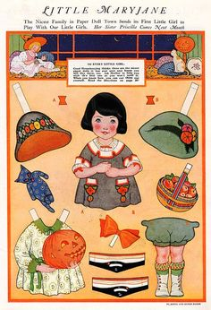 MARY JANE Vintage Halloween Paper Doll