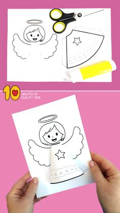 angel crafts for kids Easy Arts And Crafts, Crafts To Do, Crafts For Kids, Whale Crafts, Baby Coloring Pages, Paper Angel, Catholic Crafts, Angel Crafts, Rainbow Crafts