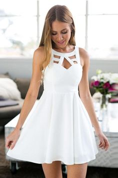 A-Line Jewel Short White Satin Homecoming Dress with Lace-Pgmdress