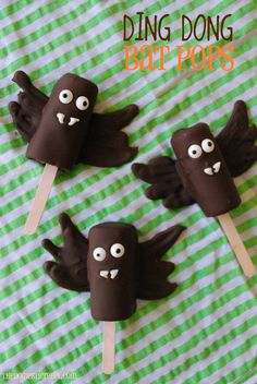 Ding Dong Bat Pops made from Ding Dong Snack Cakes.