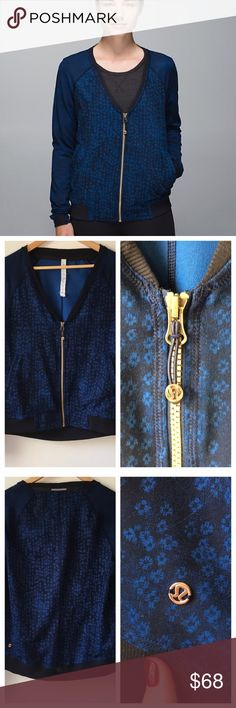 ✨HP✨Lululemon H'Om Run Jacket Super fun, beautiful blue pattern, v-neckline. It's amazing and so soft! 🎉Host Pick: Weekend Wardrobe🎉  🚫 Trades/🅿️🅿️ ✨ 100% Authentic 💵 Offers Welcome 💰 Bundle Discount 📬 Ships in 1-2 Days lululemon athletica Jackets & Coats