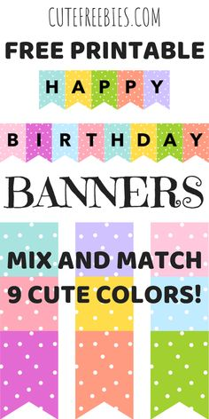 - Cute Freebies For You Colorful Happy Birthday Banners / Buntings - Free Printable! Cute happy birthday decorations for your kids party. Grab your free party banners now! Happy Birthday Banner Printable, Birthday Banner Template, Free Printable Banner Letters, Happy Birthday Posters, Cute Happy Birthday, Happy Birthday Signs, Bunting Template, Printable Tags, Birthday Banner Ideas