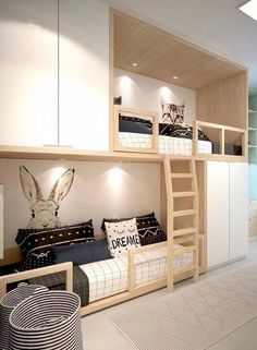 Deciding to Buy a Loft Space Bed (Bunk Beds). – Bunk Beds for Kids Bunk Bed Rooms, Bunk Beds With Stairs, Kids Bunk Beds, Beds For Small Rooms, Bed For Girls Room, Small Spaces, Kid Spaces, Space Kids, Small Small