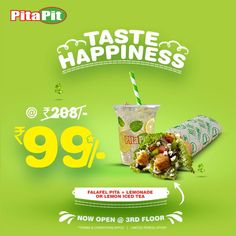 Taste the happiness with us at @PitaPitIndia. Visit us for healthy and delicious Pita/Salad combos. TnC apply.  Offer Valid only at DLF Mall of India - Biggest mall in India. #LoveForPita