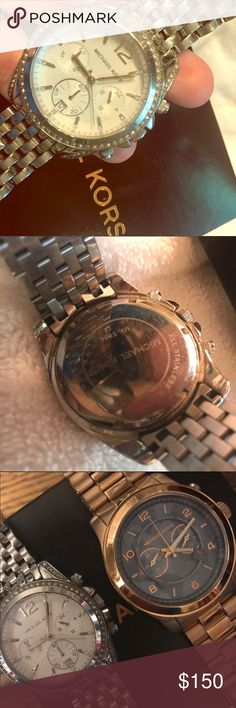Michael Kors Watch Silver Authentic, flashy, silver MK watch. Large face, beautiful piece. Small scratches, but overall in great shape. Last photo to show size men's/women's sizes. I do not have the removed links. Michael Kors Accessories Watches