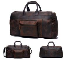 Genuine crazy horse leather duffle travel bag with a external compactment. Sophisticated, stylish and spacious.Dimensions: x x Dark brown Leather Products, Crazy Horse, Travel Bags, Dark Brown, Leather Bag, Canvas, Stylish, Travel Handbags, Tela