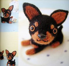 felt dogs made of wool japanese craft book by feltcafe