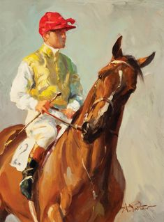 "André Pater (Polish/American, born 1953) HORSE & JOCKEY Oil on board, 9"" x 12""Horse and Jockey 