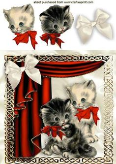 VINTAGE KITTENS IN RED ORNATE FRAME WITH DRAPES on Craftsuprint - Add To Basket!