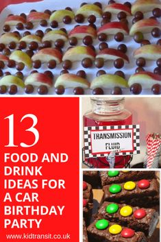 13 party food and drink ideas for a car theme first birthday party ideas for 13 year olds Hot Wheels Party, Hot Wheels Birthday, Race Car Birthday, Race Car Party, 2nd Birthday, Birthday Ideas, Cars Party Foods, Party Food Themes, Party Food And Drinks
