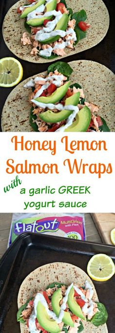 These Honey Lemon Salmon Wraps are packed full of healthy fats and flavored with delicious herbs providing an amazing combo of unique flavors! Wrap Recipes, Salmon Recipes, Fish Recipes, Lunch Recipes, Seafood Recipes, New Recipes, Cooking Recipes, Favorite Recipes, Good Healthy Recipes