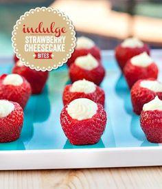 {White Chocolate} Strawberry Cheesecake Bites