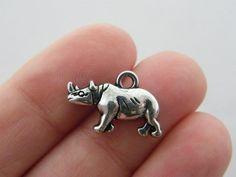 BULK 20 Rhino charms antique silver tone A12