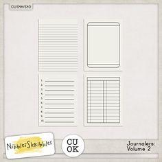Journalers Vol. 2 by Nibbles Skribbles | CU/Commercial Use #digital #scrapbook design tools at CUDigitals #digiscrap