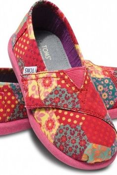 Tiny Toms classics pink patchwork shoes