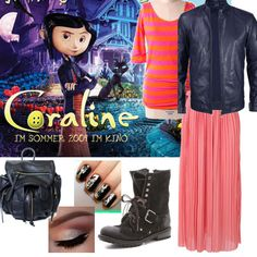 Perfectly #Coraline! Great #outfit for the #Cartoon Character #fashion challenge