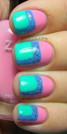 Cornered Nails color block nail art design in pink blue and turquoise (by Neverlandnailblog)
