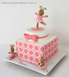 Pink Patterned Bunny Ballet Themed Birthday Cake