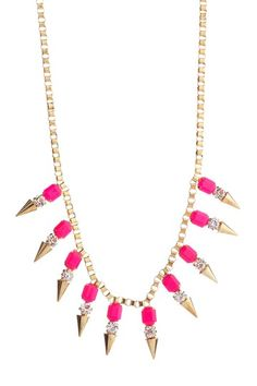 t plus j Designs  Neon Pink & Spike Necklace