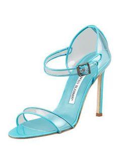 Fersen Patent-Vinyl High-Heel Sandal, Turquoise by MANOLO BLAHNIK at Bergdorf Goodman.