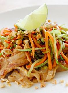 Skinny Asian Peanut Noodles with Chicken