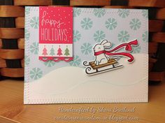 Lawn Fawn - Winter Bunny stamp and coordinating die, Fa La La paper, Peace Joy Love paper _ fun holiday design by Shari B!  Flickr - Photo Sharing!