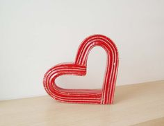 Red heart sculpture bright red ceramic heart outline by Akatos, $62.51