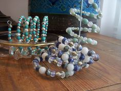 Wrist wraps - Lapis , Turquoise or Amazonite  #alisonsgemstonedesigns.com