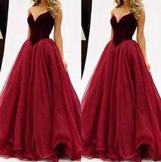 Hebeos Ball Gown Sweetheart Tulle Red Long Prom Dresses 2018 Red Ball Gowns adf91efa4954