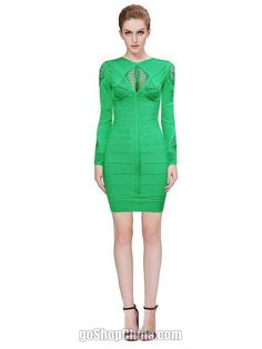 Cheap Bandage bodycon dresses long sleeve green cutout. elegant long sleeve bandage dresses wholesale from China.