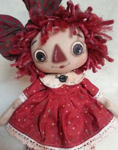 Handmade Primitive Folk Art Raggedy Ann Annie Doll Red Dotted Print Dress #Handmade
