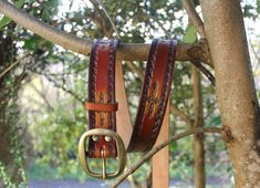 """1""""1/2 Hand Tooled leather belt/ Tan Brown Belt Tooled Leather, Leather Tooling, See Images, Brass Buckle, Brown Belt, Hand Tools, Solid Brass, Dark Brown, Belts"""